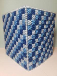 Blue plastic canvas tissue box cover tissue box yarn tissue