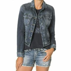 Silver Jeans long sleeved denim Joga jacket XS New with tags attached,  Silver Jeans long sleeved denim jacket in size extra small. Wonderfully soft with stretch, not at all stiff like other denim jackets. Can easily cuff the sleeves up. Still retails for $88 at Macys Silver Jeans Jackets & Coats Jean Jackets