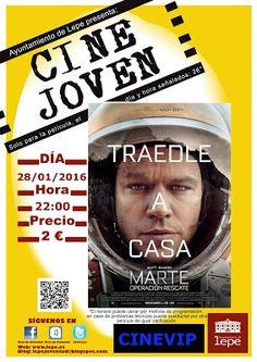 """Cine Joven presenta: """"Marte"""", el jueves, 28 de enero, a las 22h en Cinevip Lepe. Precio de entradas: 2 €. #LepeJuventud"""