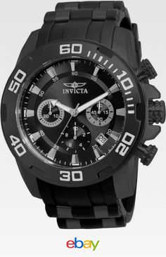 Invicta Men s 22338 Pro Diver Chronograph 50mm Black Dial Steel-Rubber  Watch Casual Watches 69594db925