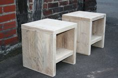 A few night cabinet from recycled, old lumber! Also suitable as side tables or as a stool! The planks we use have a thickness of about 4 cm. The wonderful radiance of the massive wood with the typical Decor, Furniture, Wood, Diy Nightstand, Diy Table, Side Table, Wood Pallets, Wood Diy, Wood Pallet Furniture