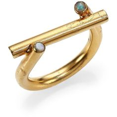 Kelly Wearstler Mina Moonstone Ring ($145) ❤ liked on Polyvore featuring jewelry, rings, apparel & accessories, gold, kelly wearstler jewelry, moonstone ring, moonstone jewelry and kelly wearstler