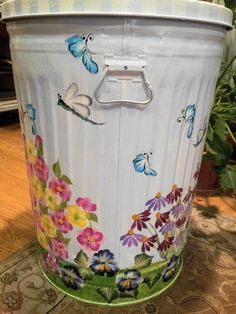 30 Gallon Hand Painted Trash Can  krystasinthepointe.com - ETSY