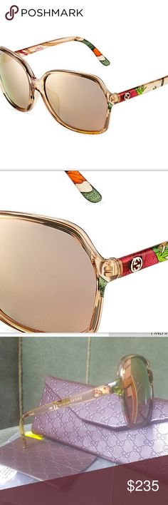 """Gucci Sunglasses Gucci oversized rounded square sunglasses. GG logo at temple, lens/bridge/temple 60-16-135 mm. Gradient lens. STYLE Medium Beige Floral. These are """"Optyl"""" frames suitable for prescription lense change out. Rose Gold Mirrored Lenses Gucci Accessories Sunglasses"""