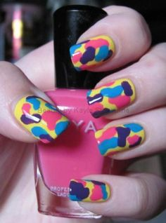Beauty nail art nails of the day colourful camo