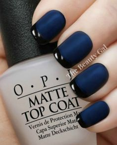 There are nail designs that include only one color, and some that are a combo of several. Some nail designs can be Plain and others can represent some interesting pattern. Also, nail designs can differ from the type of nail polish… Read Nail Lacquer, Matte Nail Polish, Nail Polish Sets, Blue Matte Nails, Black Polish, Acrylic Nails, Navy Blue Nails, Opi Polish, Black And Blue Nails
