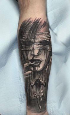 Scary Tattoos, Badass Tattoos, Tatoos, Dark Tattoo, Creepy Art, Silver Hair, Tattoo Inspiration, Tattoo Drawings, Sleeve Tattoos