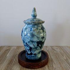 blue crystalline urn Dog Urns, Horse And Human, Memorial Urns, Blue Pottery, Pet Memorials, Small Dogs, Dog Cat, Artisan, Ceramics