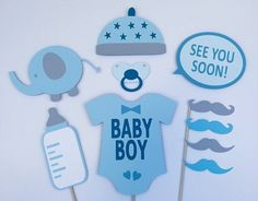 Boy Baby Shower Photo Booth Props / Baby Boy Photobooth Props / Babyshower Boy / FULLY ASSEMBLED / 10 Pc