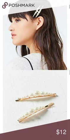 Pearl Bobby pin set Classically feminine + divinely pretty pearl bobby pins. Featuring varied sizes of faux pearls lined up to glisten + shine in hair, set on a metal bobby pin clip backing to hold securely all day long.  Sold as Set of 2. Urban Outfitters Accessories Hair Accessories