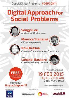 """Komunitas Depok Digital kembali menggelar Depok Connection di Code Margonda, Kamis, 19 Februari 2015. Depok Connection yang ke-11 ini mengusung tema """"Digital Approach for Social Problems"""" dengan menghadirkan pembicara Songyi Lee (Co-Founder & advisor at 37coins.com) dari Korea Selatan dan Maurice Stanszus (CEO wegreen.de) dari Jerman. - See more at: http://www.depoklik.com/metro/2015/02/20/kepala-badan-ekonomi-kreatif-ingin-depok-connection-dijadikan-contoh/#sthash.KdRCYdHx.dpuf"""