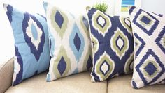 Howarmer® Cotton Linen Square Blue Decorative Throw Pillows Cover Set of 4 Geometric 18x18