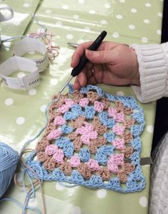 Crochet class, The Craft Studio Nottingham. Granny Square in Pink, Brown & Blue.