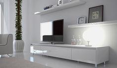 Ikea white tv stand white unit entertainment unit white entertainment unit simple elegant however need to White Entertainment Unit, Entertainment Center Decor, White Tv Unit, Floating Cabinets, Floating Shelves, Tv Decor, Home Decor, Tv Cabinets, Home Interior