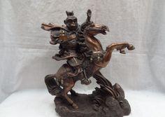 "Collectible bronze S1223 11"" Chinese Bronze Zodiac Monkey Seal Sun WuKong Ride Horse Statue Sculpture B0403"
