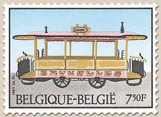 Belgian Stamps History of tram and trolly Tram Hippomobile