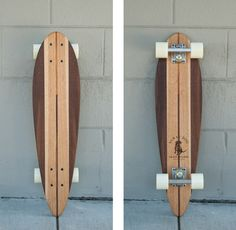 Reclaimed Wooden Skateboard - Hand crafted skateboards made from up-cycled maple, oak, koa, and walnut. The shape of the boards are reminiscent to early skateboard design and have a nostalgic aura about them. All boards come complete with Penny wheels, trucks, and bearings. #madeinSF #RideinStyle #MakersMarket