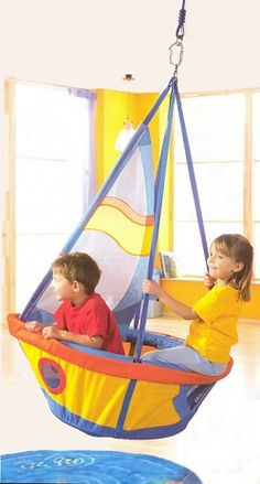 The Haba Ship's See-Saw Swing is a fun accessory for your child's room or playroom. The adjustable straps allow for an adjustable swing height. Indoor/Outdoor Use. For Ages: 3 yrs+. Play Spaces, Kid Spaces, Play Areas, Swing Indoor, Diy Swing, Indoor Playground, Indoor Outdoor, Playground Design, Kids Corner