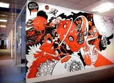 Hand painted space themed mural for the BBH's creative department.