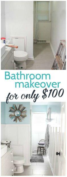 modern farmhouse bathroom, inexpensive bathroom makeover, vintage modern bathroom, board and batten, diy bathroom renovation, blue and white bathroom