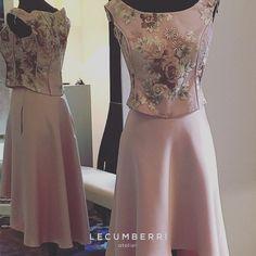 L E C U M B E R R I atelier Cuerpo en tul bordado y satén raso. Falda en satén.  #lecumberriatelier #lecumberriceremonia #fashion #pretaporter #tailoring #ceremonia
