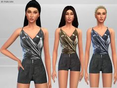 The Sims Resource: Metallic Jumpsuit • Sims 4 Downloads