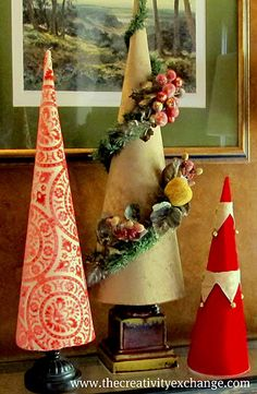 Love the cone in the middle~Fabric Covered Poster Board Tree Cones {Part 2}…