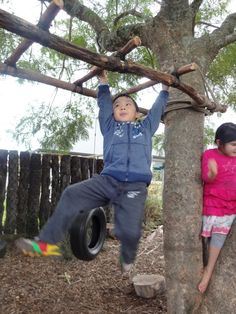 Children need the freedom to take risks in play because it allows them to continually test the limits of their physical, intellectual and emotional development (Tranter, - Natural Hanging Bars Natural Play Spaces, Outdoor Play Spaces, Kids Outdoor Play, Kids Play Area, Outdoor Learning, Backyard For Kids, Outdoor Fun, Physical Play, Backyard Playground