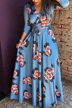 V-neck printed plaid high waist Long Sleeve Maxi Floral Dress Maxi Wrap Dress, Maxi Dress With Sleeves, Womens Swing Dress, Maxi Floral, Floral Dresses, Dress Outfits, Fashion Dresses, Fashion Belts, Plus Size Maxi Dresses
