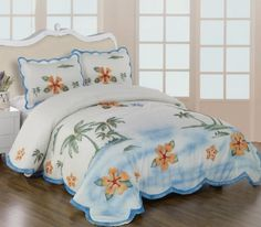 3 Pieces 3D White, Burgundy, Yellow, and Green Palm Tree with Hibiscus Comforter/bedspread/quilt/coverlets Bedding Set for Queen Size Bed $42.99