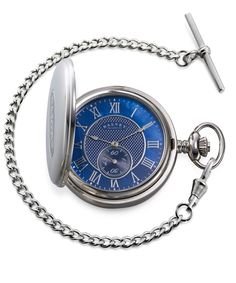 Striking full hunter pocket watch featuring a bold blue Mother of Pearl face. One of our most popular pocket watches. Armani Watches For Men, Stylish Watches, Luxury Watches, Cartier, Personalised Gifts For Him, Groomsman Gifts, Mens Fashion, Fashion Tips, Pearls