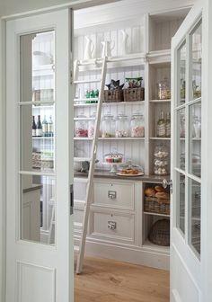 Traditional Pantry with High ceiling, Whittier Milk Pitcher, Built-in bookshelf, World Market Half-Gallon Glass Storage Jar