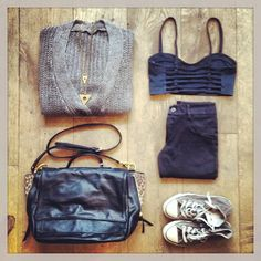 Brandy Melville outfit-grey sweater,black bralette top,black leggins,black tote bag,brown-grey converse.