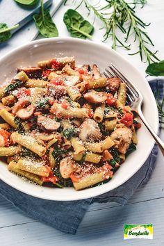 Rigatoni, Pasta Recipes, Pasta Salad, Food And Drink, Vegetarian, Classroom, Vegan, Dishes, Cooking