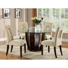Picture Of Landon Chocolate 5 Pc Counter Height Dining Set From Custom The Room Place Dining Room Sets 2018