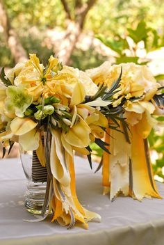 Yellows, Creams, and Light Oranges Wedding Bouquet