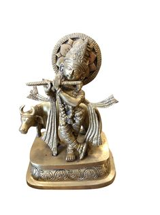 Antique Brass Indian Hindu God Lord Krishna Statue Playing Flute with Cow Figurine Sculpture Home Decorative Showpiece