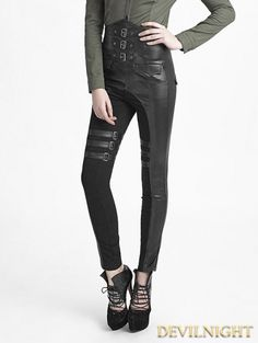 Black Gothic Military Style PU High-Waist Pants for Women - Devilnight.co.uk