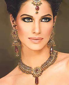 people wearing precious stone jewelry | ... Jewellery Sets Pakistani Wedding Jewelry Kundan Gemstones Party Wear