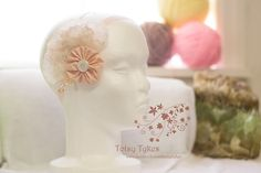 Vintage style lace, fabric and beaded headband and photo prop by TotsyTykes on Etsy