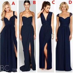 2016 New Fashion Dark Navy Blue Chiffon Beach Bridesmaid Dresses With Split Different Style Junior Bridesmaids Dress Custom Make Cheap Gown Lilac Bridesmaid Dresses Orange Bridesmaid Dresses From Gaogao8899, $78.59| Dhgate.Com