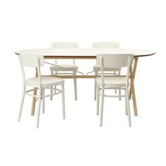Ikea Table and 4 chairs, birch, white 12202.14238.226