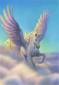 Pegasus is the immortal winged horse that sprung out from Medusa's neck when she was beheaded by Perseus. The winged horse was tamed by Bellerophon, a Corinthian hero, who then rode him against Chimera. Fantasy Kunst, Fantasy Art, Fantasy Fairies, Magical Creatures, Fantasy Creatures, Winged Horse, Unicorn Art, Unicorn Quotes, Unicorn Cakes