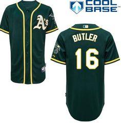 www.mlbofficialshop.com    Men's Oakland Athletics #16 Billy Butler Green Cool Base Baseball Jersey