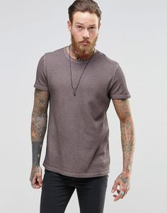 ASOS+Super+Longline+T-Shirt+In+Waffle+Oil+Wash+With+Curved+Back+Hem