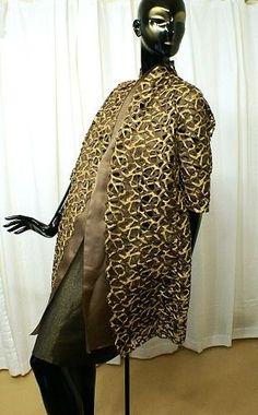 $1645 AKRIS-Exquisite-Gold-Smokey-Mocha-Shimmering-Metallic-OpenWork-Two-Piece-Coat
