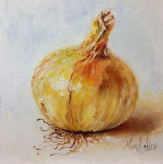 """Onion Golden Yellow-Original Oil painting by Nina R.Aide-Still Life-canvas 6""""x6"""" Vegetable Fine Art Kitchen Wall Decor Daily Painting by NinaRAideStudio on Etsy"""