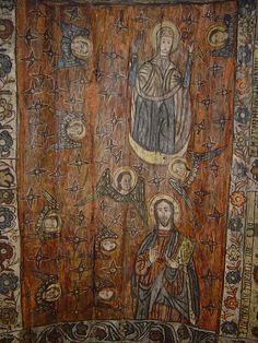 Biserica de lemn din Deseşti, judeţul Maramureş - Bolta naosului: Maria Orantă, Iisus Învăţător şi îngeri Religious Paintings, Popular Art, Christianity, Vintage World Maps