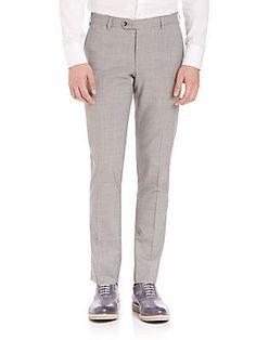 Pal Zileri Wool Slim Fit Dress Pants - Grey - Size