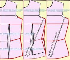 Patrón delantero de blusa con pinza de costado y vertical de busto eliminada Learn To Sew, Dress Patterns, Projects To Try, Couture, Sewing, Image, Girly, Models, Modeling
